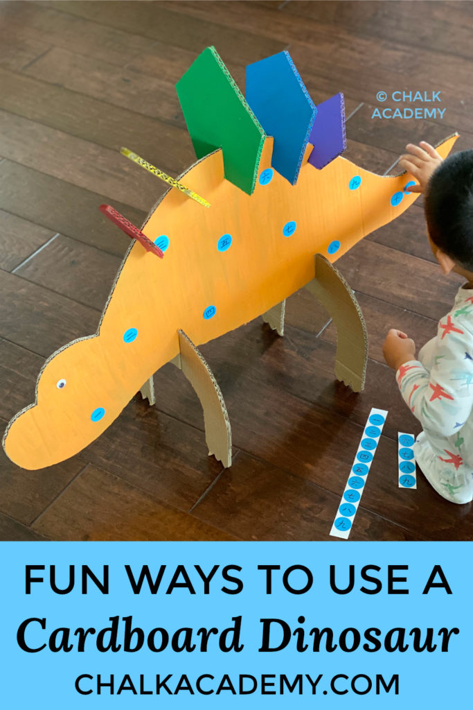 fun ways to use a cardboard dinosaur #cardboard #recycledcraft #kidscrafts #kidsactivities