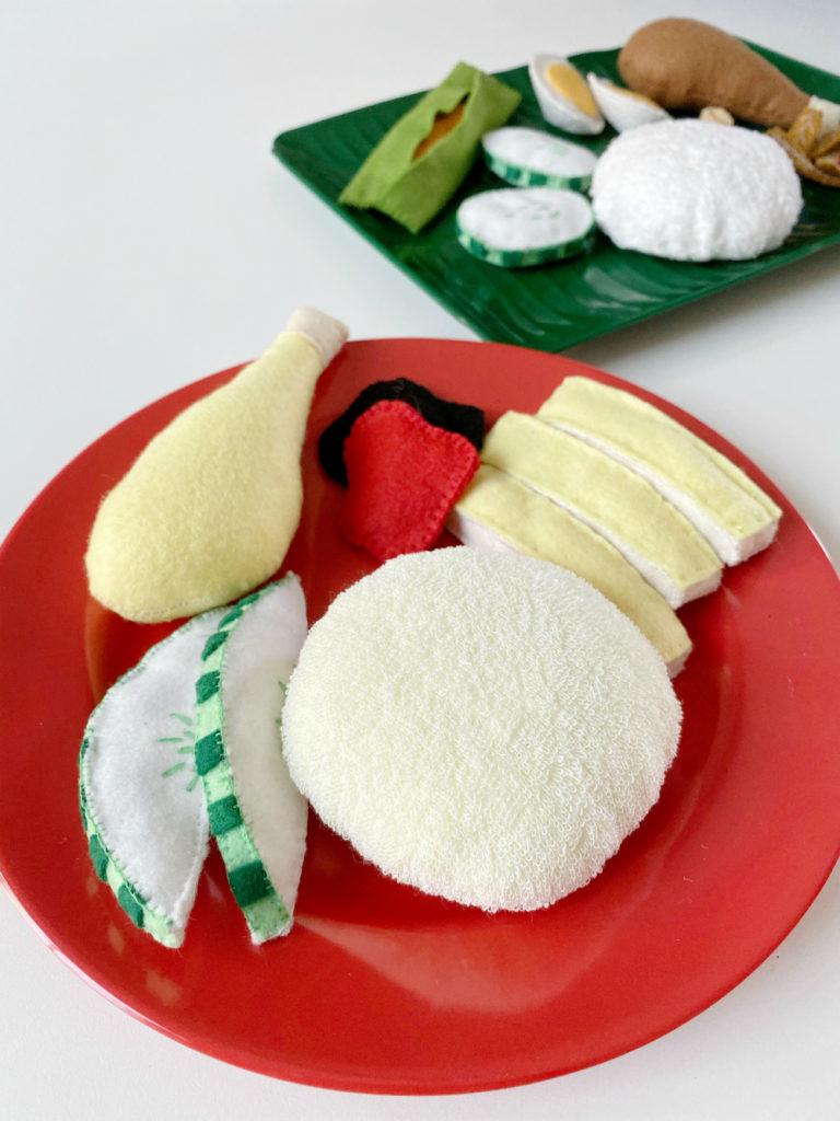 Singaporean chicken rice felt play food from Heart Felt Makan