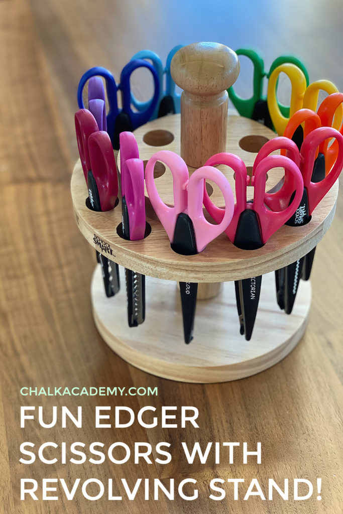 Set of fun edger scissors with wooden revolving stand (lazy susan)!