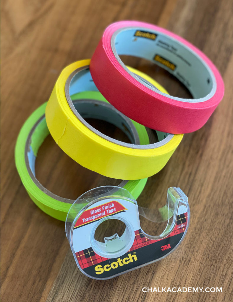 Recommended school and art supplies: painter's tape and regular transparent tape