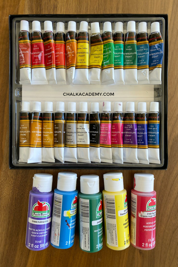 Favorite art supplies: watercolor and acrylic paint