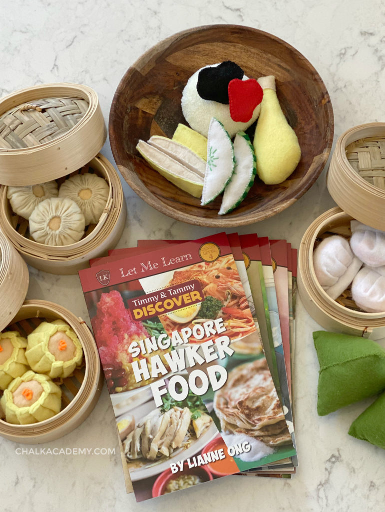 Chinese felt play food and book about Singaporean Hawker food