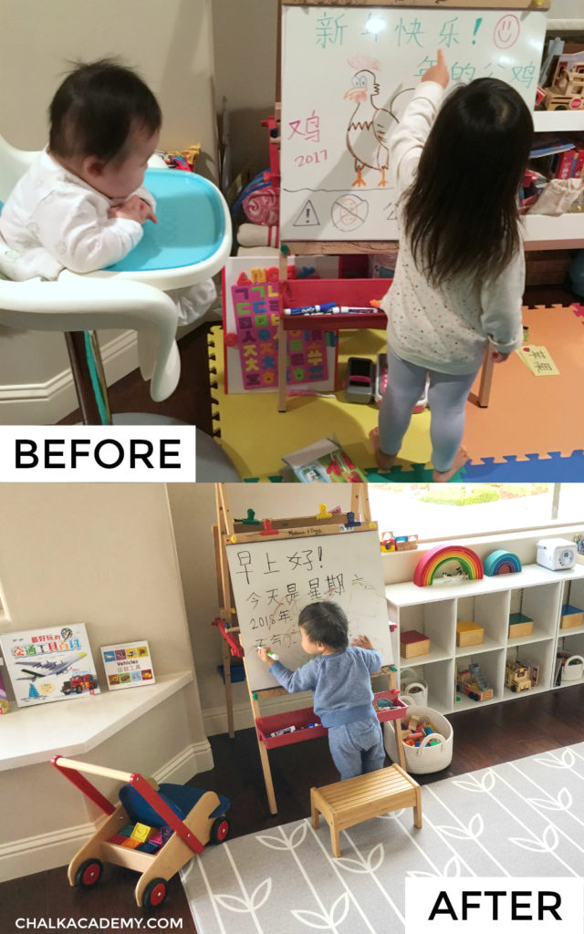 Play room before and after decluttering with multilingual kids pictures inspiration