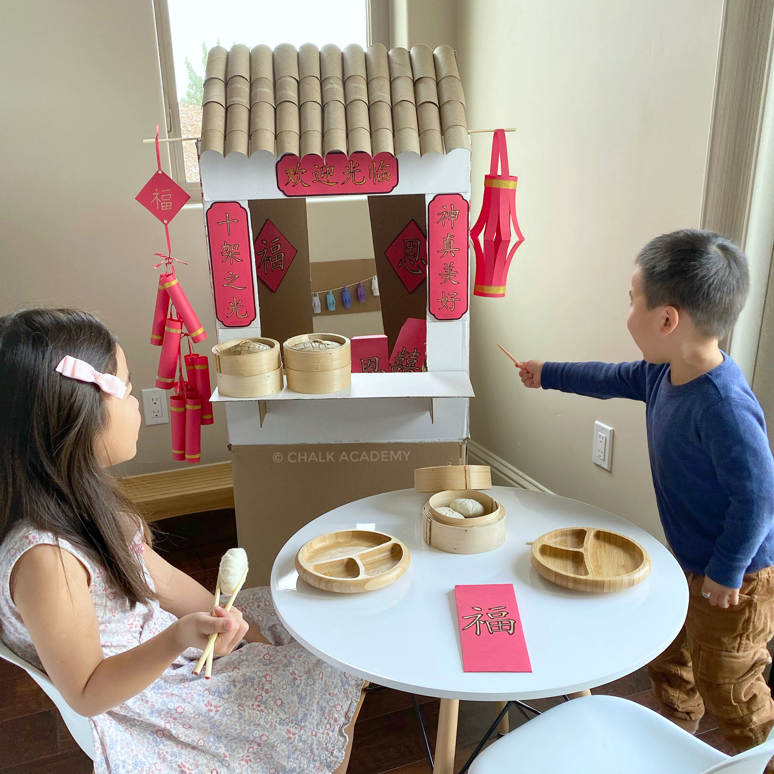 DIY Cardboard Chinese Lunar New Year Market for Kids