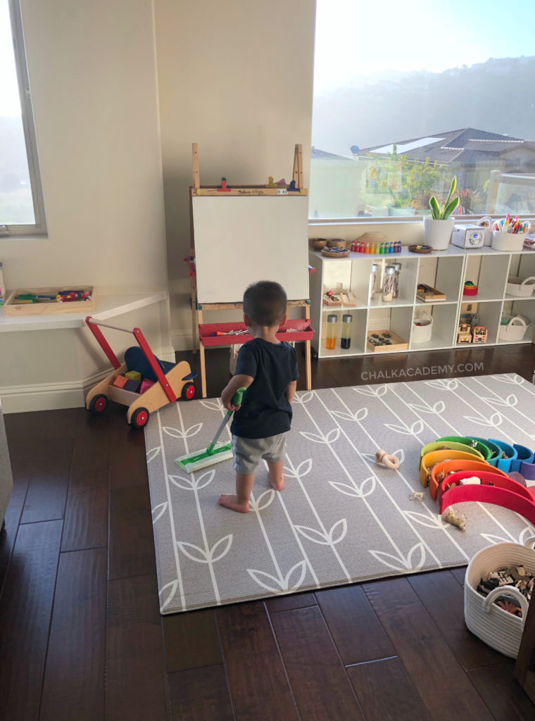 Organized modern Montessori inspired play room; involve kids in cleaning