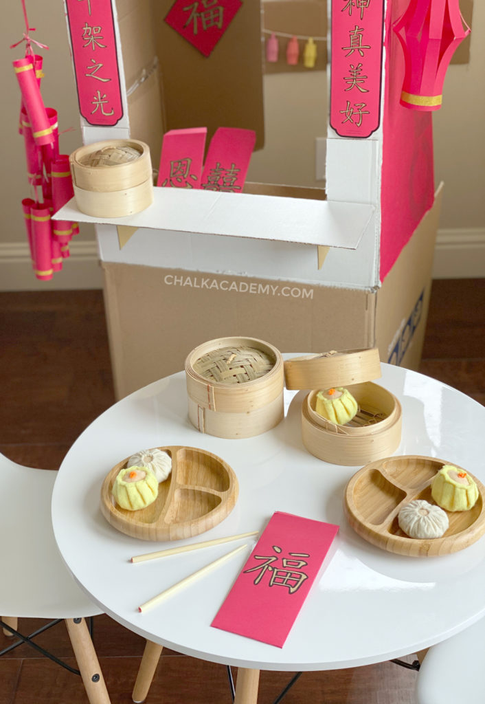 Pretend play Chinese food with lucky red envelope