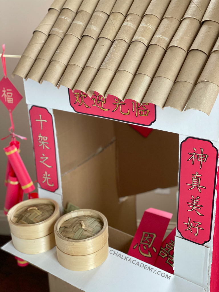 Cardboard Chinese market - DIY pretend play for kids
