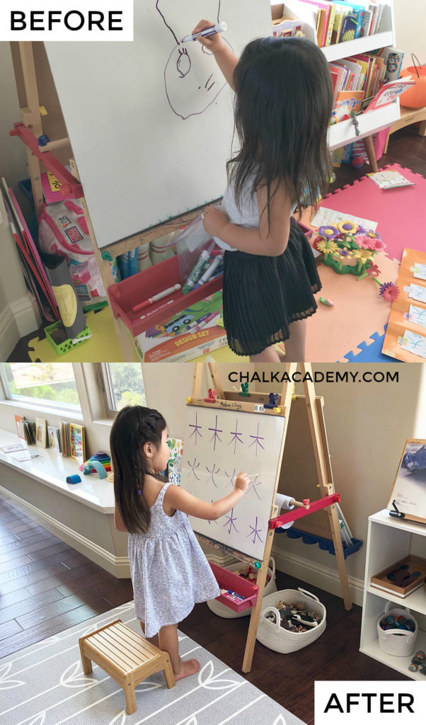 Before and after easel in play area