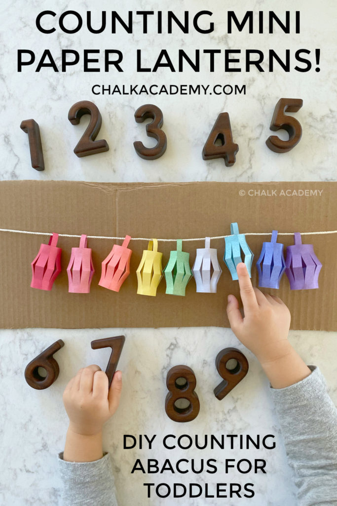 Counting mini paper lanterns - DIY simple cardboard abacus for toddlers