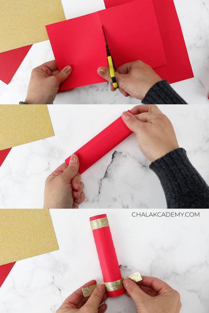 Roll red paper into tubes; decorate ends with gold washi tape