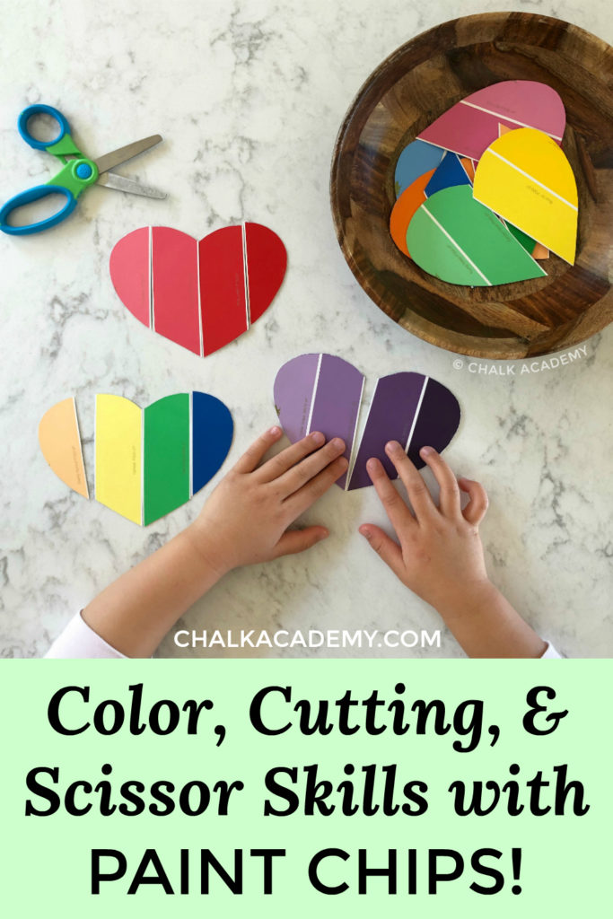 Color, cutting, and scissor skills with paint chips Valentine's Day hearts - easy toddler and preschool craft for kids