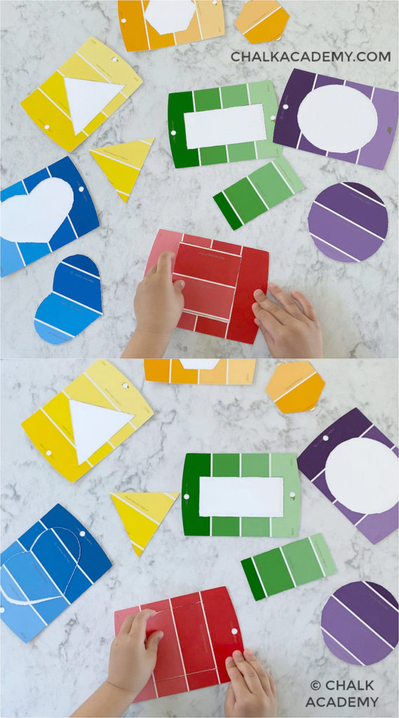 DIY shape puzzle made from paint chip color samples