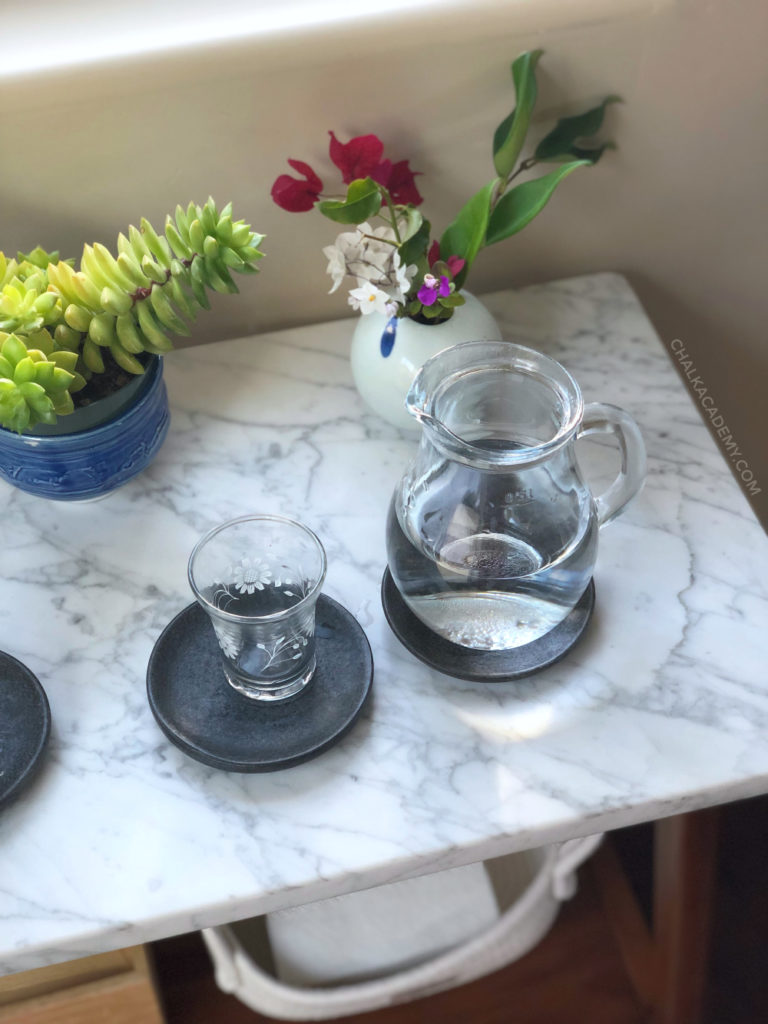 18oz glass pitcher; cups on coasters (similar here); fresh flowers from our yard