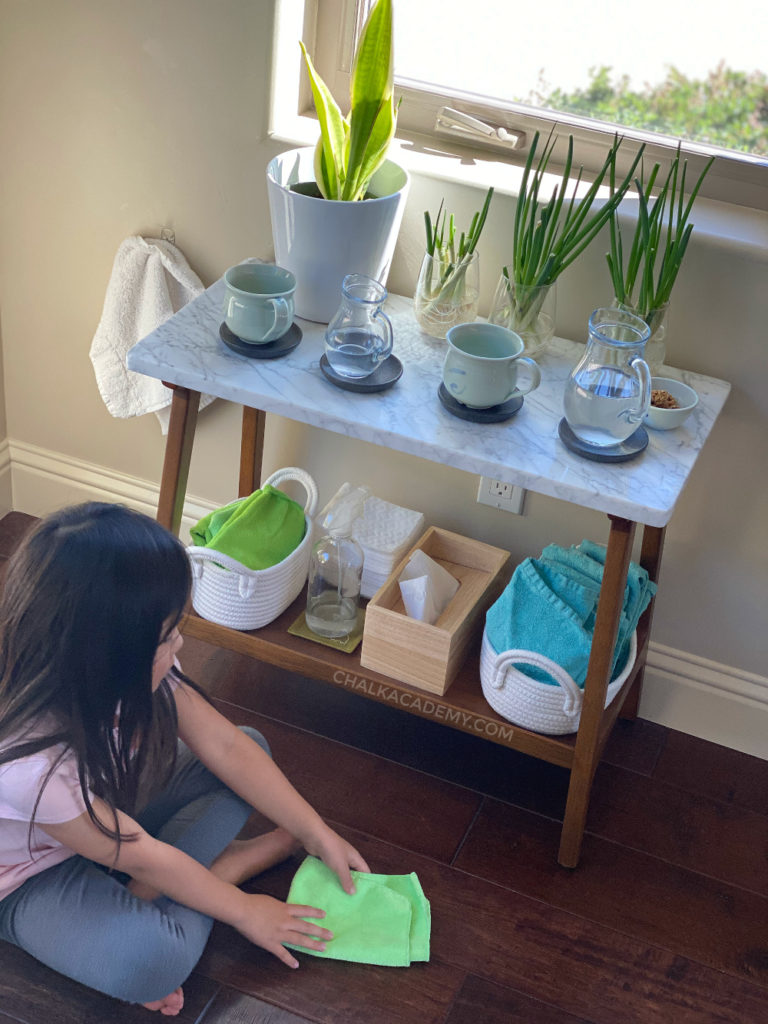 Practical life skills: chores for kids at self-care cleaning station