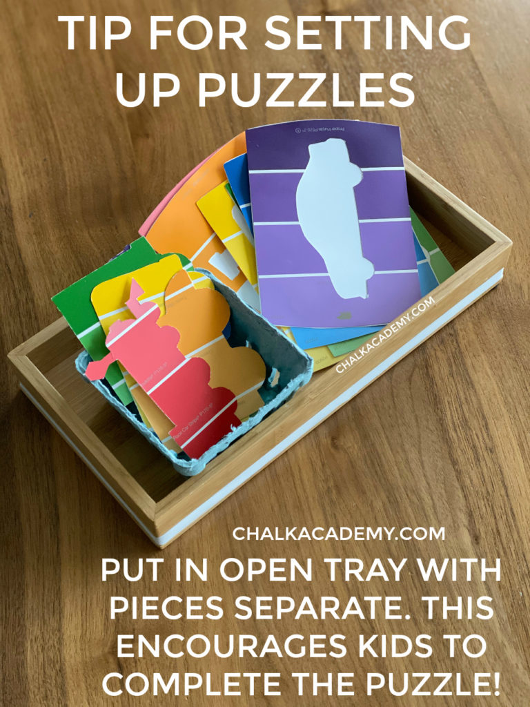 Tip for presenting puzzles: place in a open tray with pieces separate as shown above.  This encourage kids to complete the unfinished puzzle!