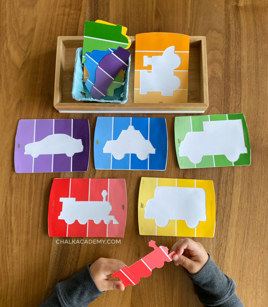 Paint chip vehicle puzzle - cars, trucks, and transportation activity for boys and girls