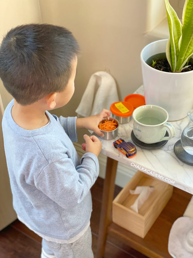Healthy, self-serve snacks for my toddler with easy-to-open, steel and silicone, non-plastic container