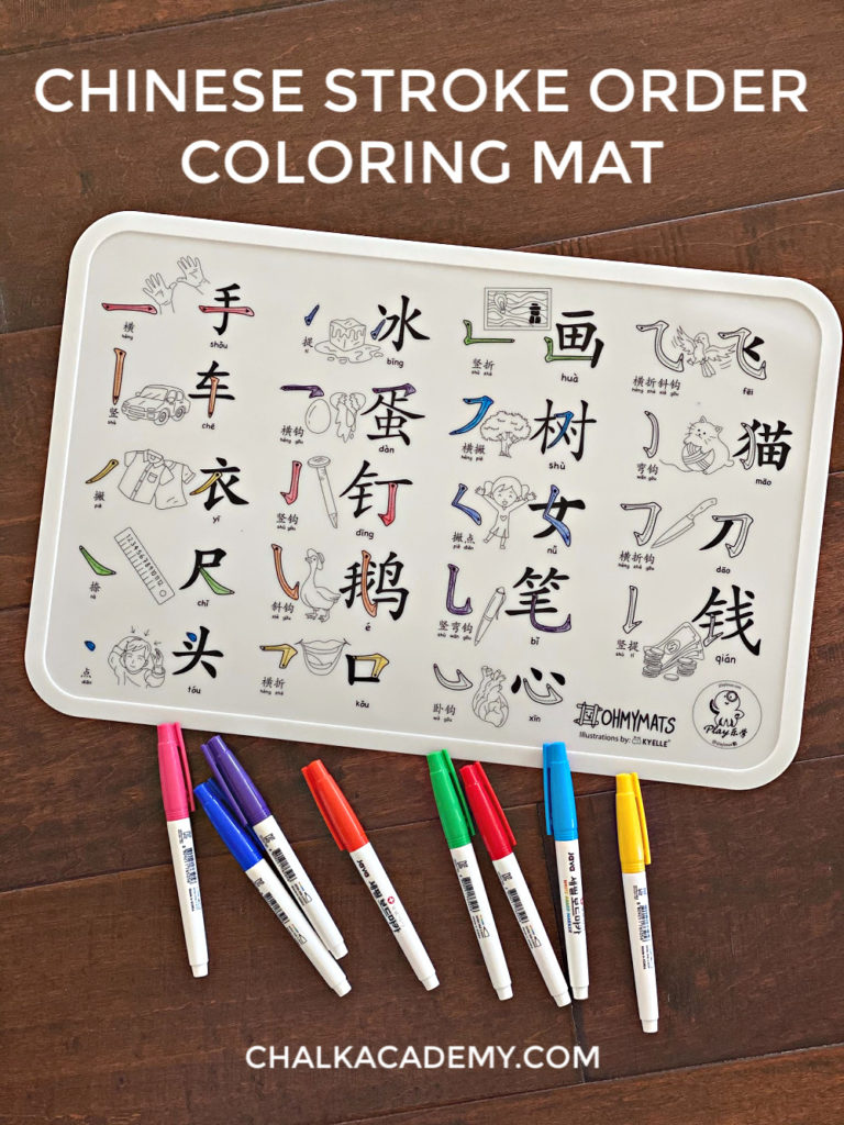 Washable Chinese Stroke Order Coloring Mats and Dining Placemat for Kids