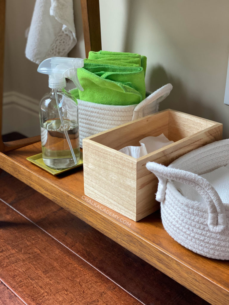 organized cleaning supplies for kids