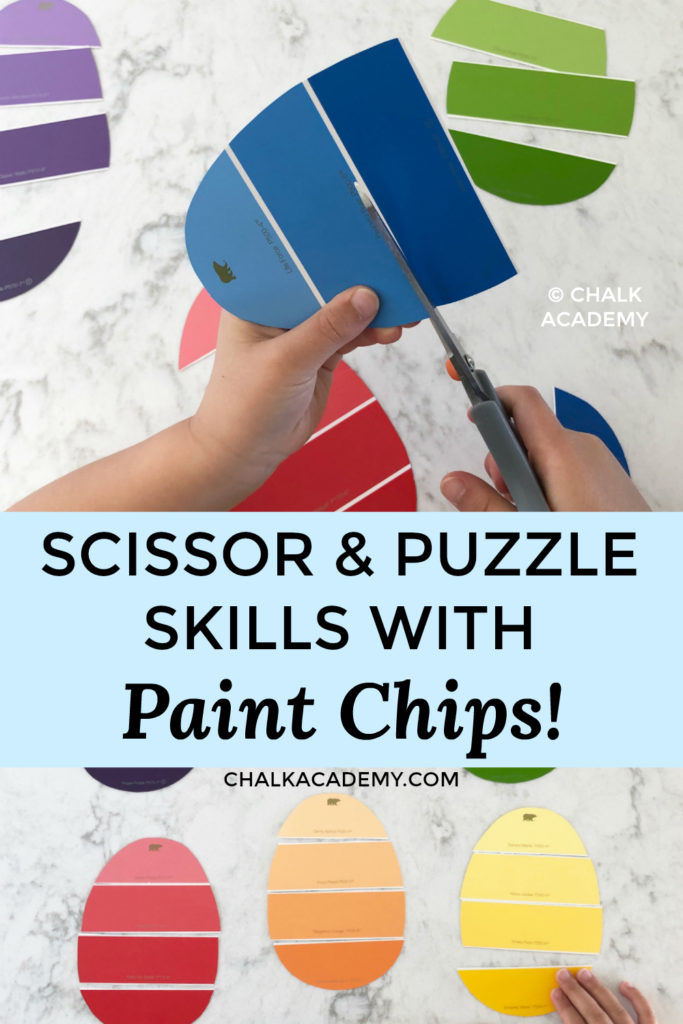 Color, cutting, and scissor skills with paint chips EASTER EGGS