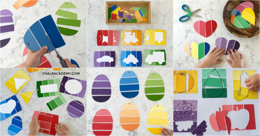 Paint chip activiites - learn colors, shapes, and cutting find motor skills for preschoolers and toddlers