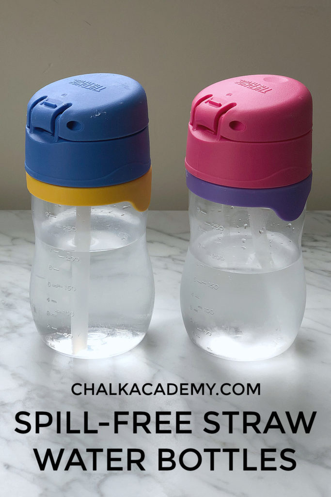 Spill-free straw water bottles for kids