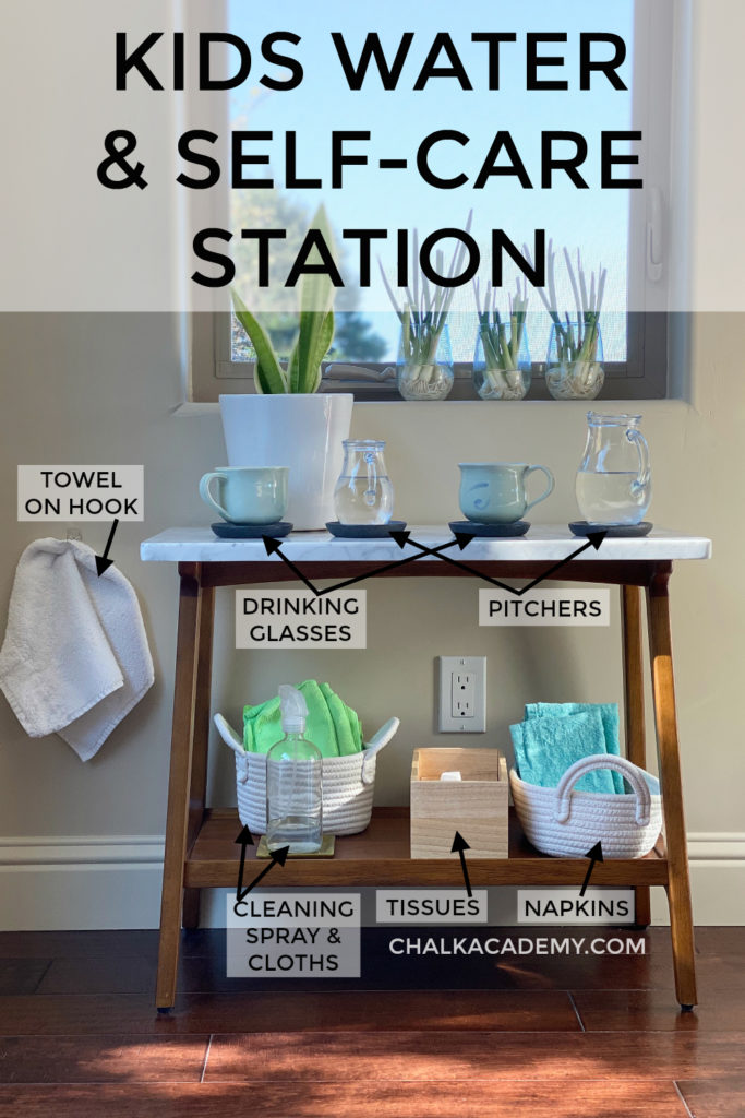 Kids water, snack, and self-care station