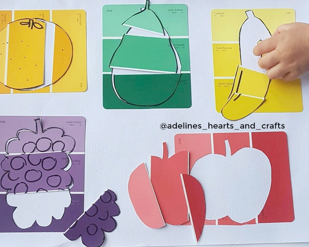 fruit paint chip puzzle activity for kids