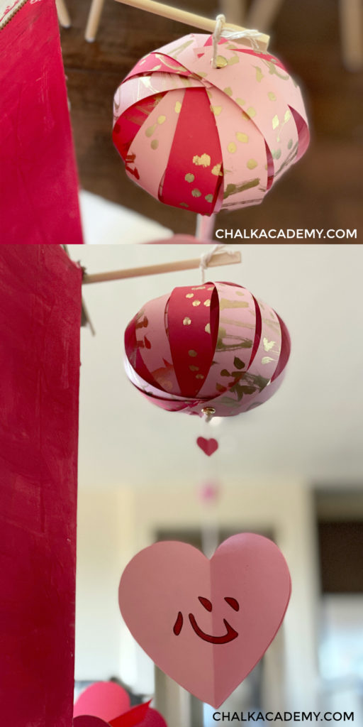 Chinese lantern heart garland