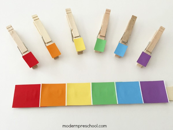 Color match and peg with paint chips - fine motor and visual discrimination skills with toddler and preschoolers