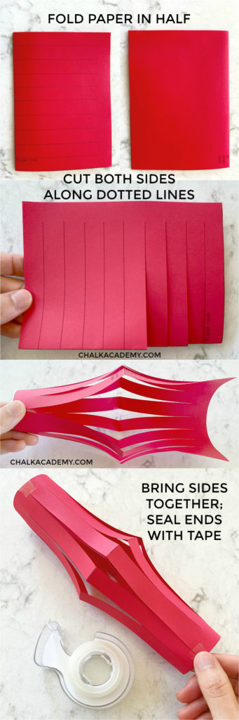 easy steps to make Chinese paper lanterns