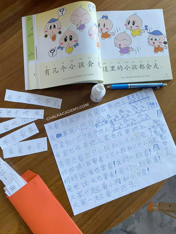 Practicing reading Chinese characters with sentence strips