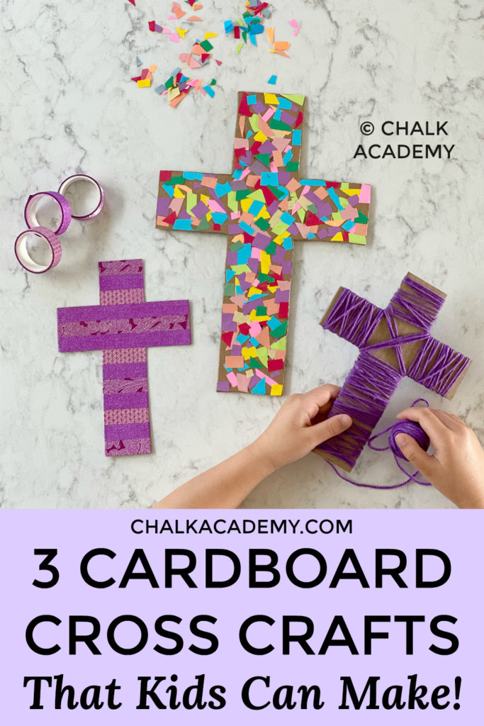 Washi Tape Cross Craft | Yarn-wrapped cardboard cross | Scrap paper cardboard cross - A Simple and Beautiful Easter Activity for kids, parents, families, and Sunday School! Bible Craft | Preschool | Elementary school | Christian Homeschool - Decoration for Easter - recycled craft for kids