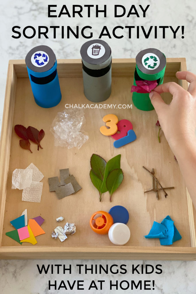 Earth Day sorting activity - trash, recycling, green waste - with things you have at home