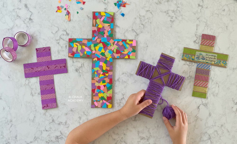 3 Cardboard Cross Craft Decorations for Easter and Sunday School
