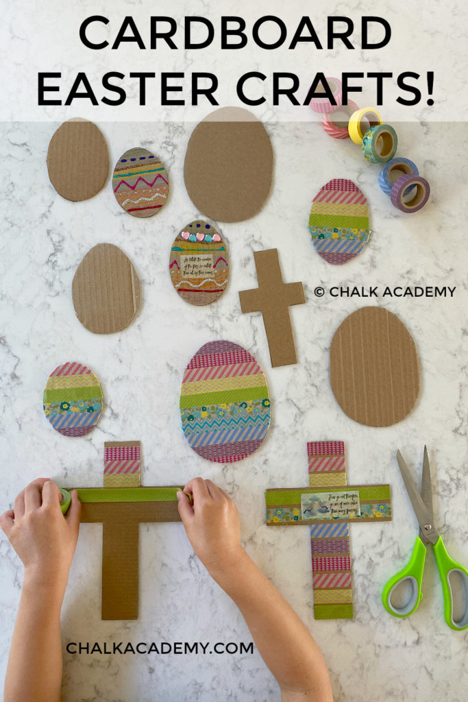 Cardboard Easter crafts for kids! Fun and simple recycled activities