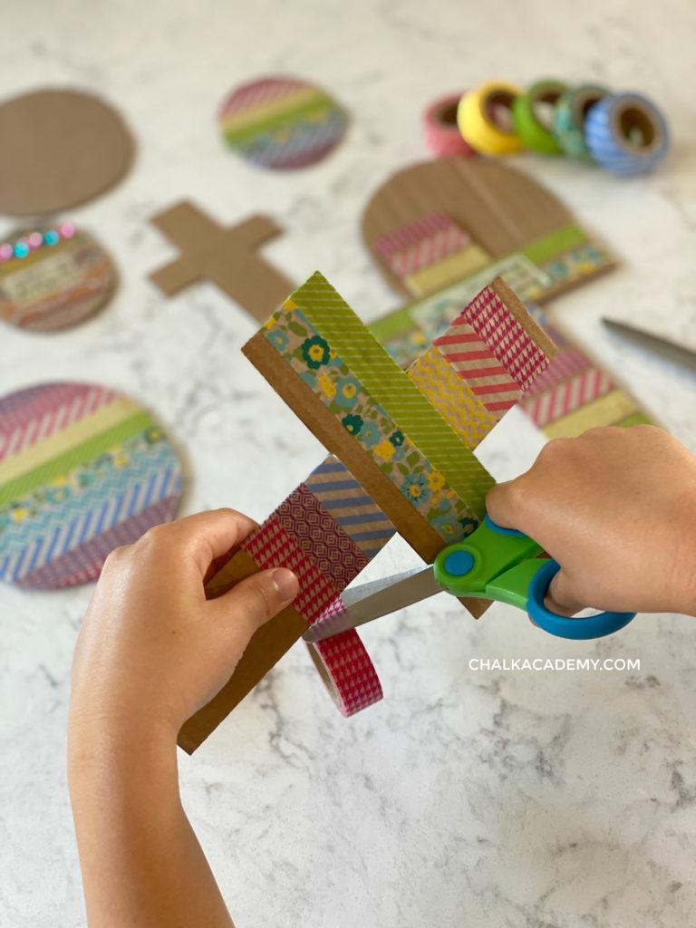Washi tape cardboard cross craft