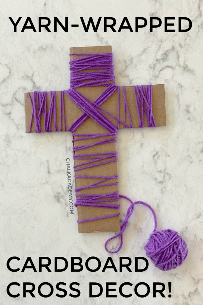 Yarn-wrapped cardboard cross decoration for Easter - recycled craft for kids