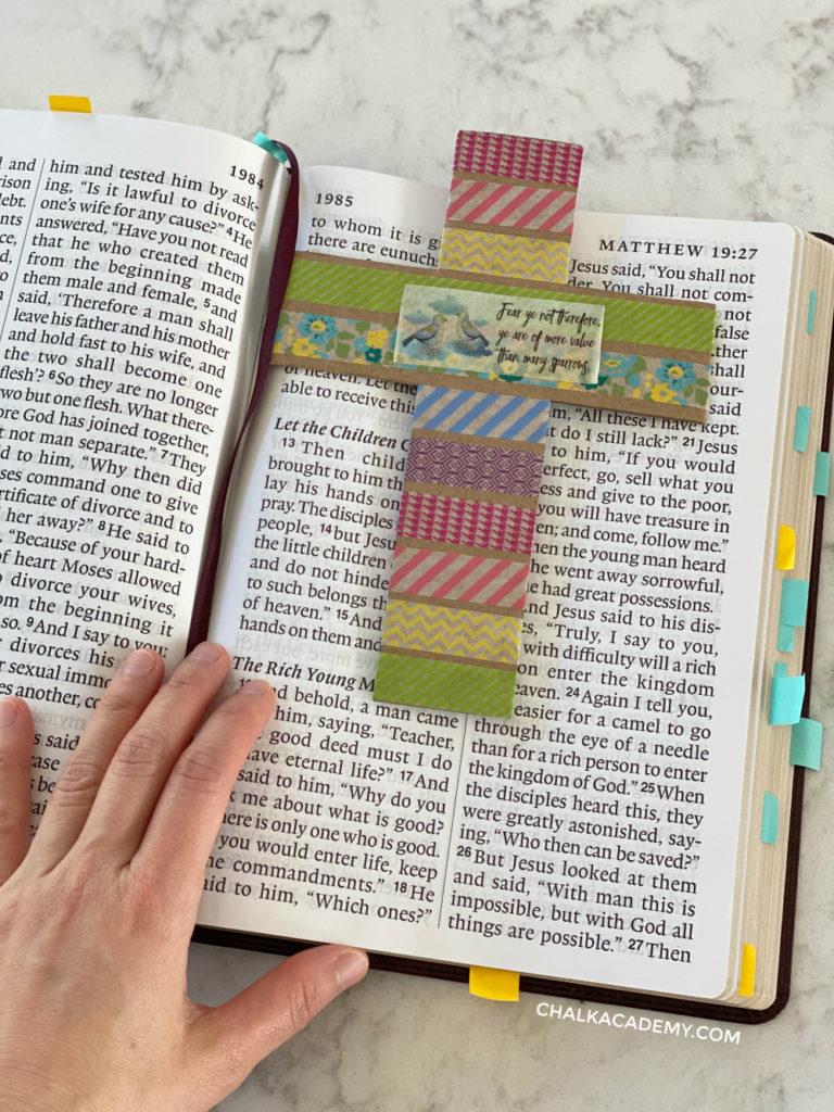 Washi tape cardboard cross bookmark for bible