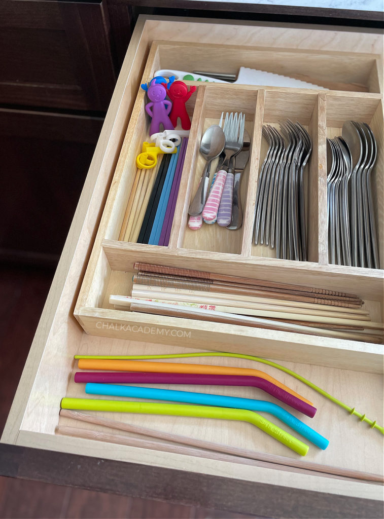 Kitchen cutlery organization; How We Keep our Kitchen Safe and Organized with Kids