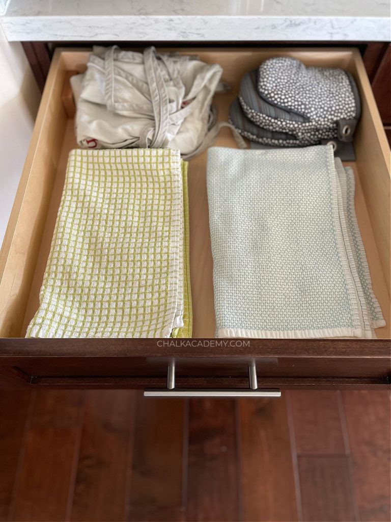 Kitchen towel drawer organization; How We Keep our Kitchen Safe and Organized with Kids