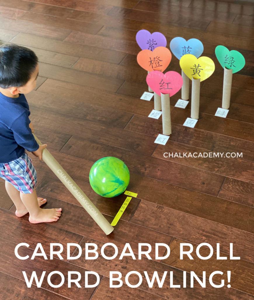 DIY Kids bowling with cardboard rolls