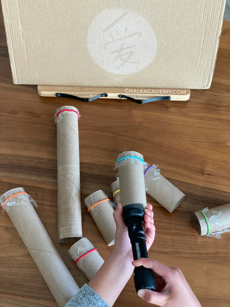 DIY Cardboard Roll Projector Word Shadow Show! Easy learning activity for kids