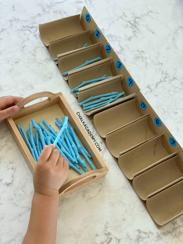 Easy to make Montessori Counting Spindle Boxes for Primary Math