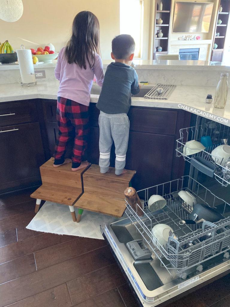 Kitchen sink, Serena and Lily teak step stool