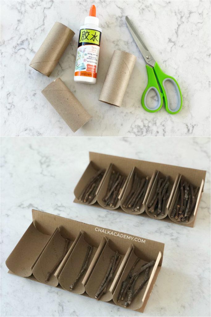 Preparing cardboard Montessori spindle box