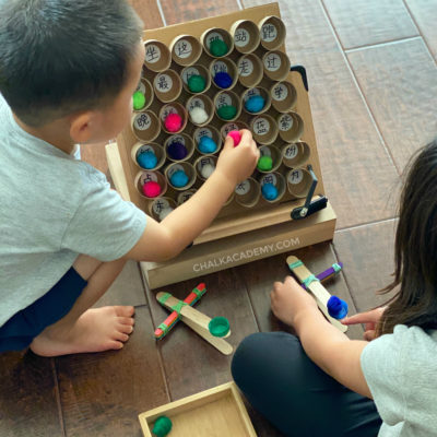 DIY Catapult Reading Game with Cardboard Sight Word Board!