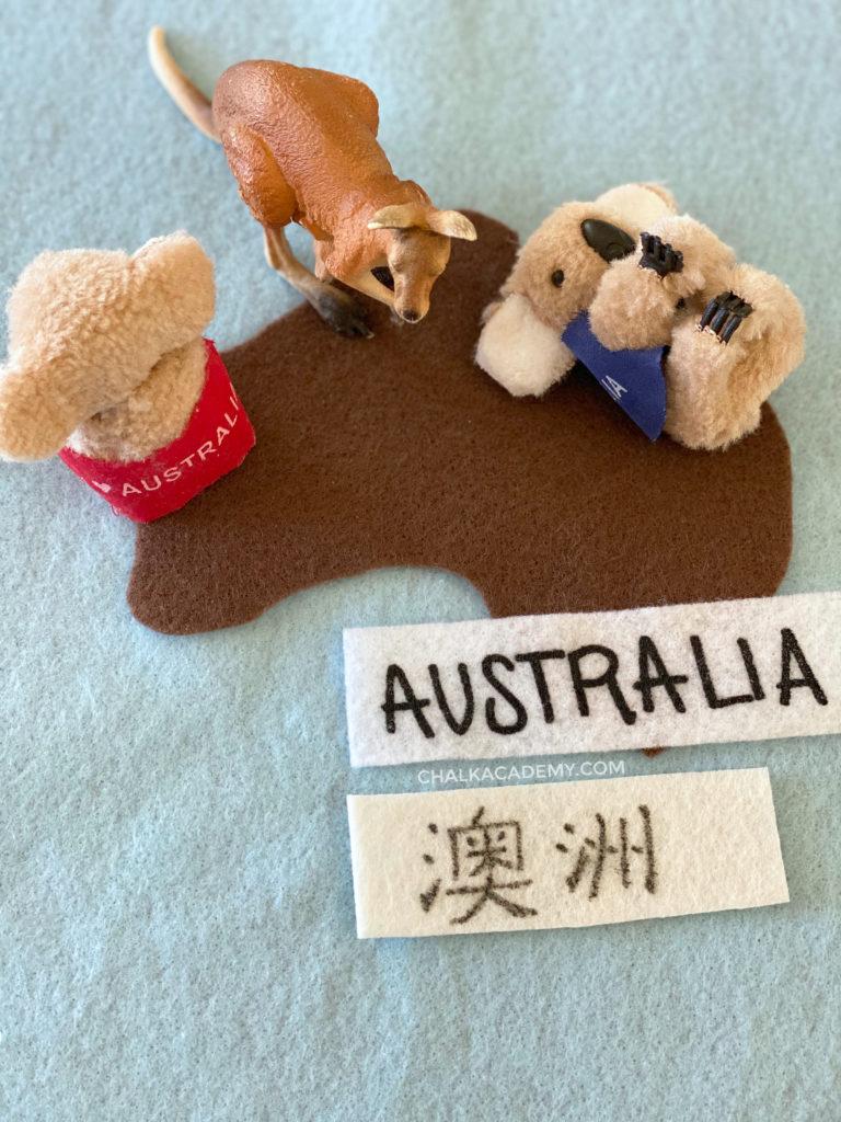 Felt map of Australia with mini Kangaroo and Koala toys