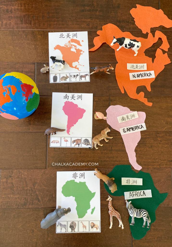 Montessori world globe, animals of the world printables, felt continents, realistic toy animals