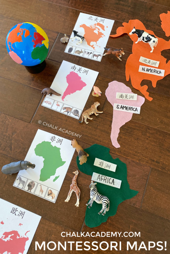 Montessori continents, maps, globe, and realistic animals for kids to learn about the world